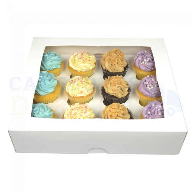 "88300840 14""x10""x4"" CUPCAKE BOX WHITE WINDOW 100/BUNDLE"